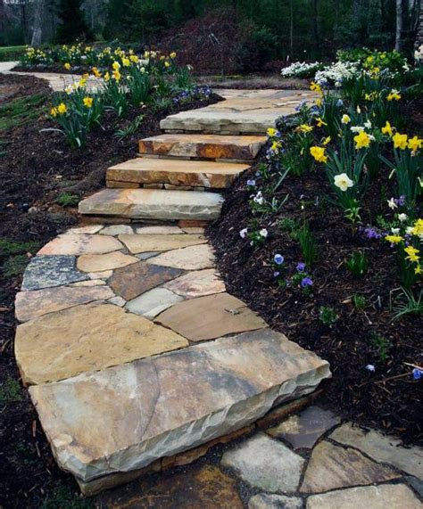 flagstone paths and walkways in grass slate patio
