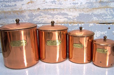 copper kitchen canisters vintage copper canisters kitchen containers coffee flour