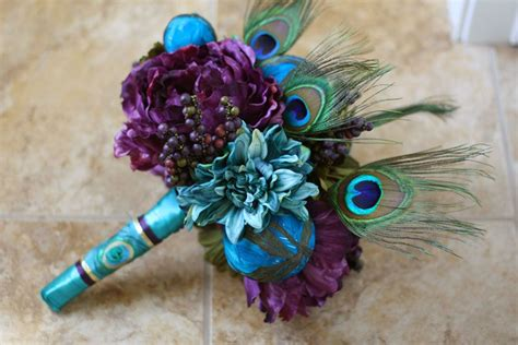 Peacock Wedding Bouquet Peacock Feathers Plum Green
