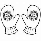 Mittens Coloring Mitten Winter Pages Snowflake Clipart Printable Sheets Sheet Gloves Christmas Template Snowman Pattern Snowflakes Drawing Colouring Kindergarten Craft sketch template