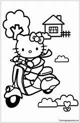 Scooter Coloring Kitty Hello Pages Getdrawings sketch template