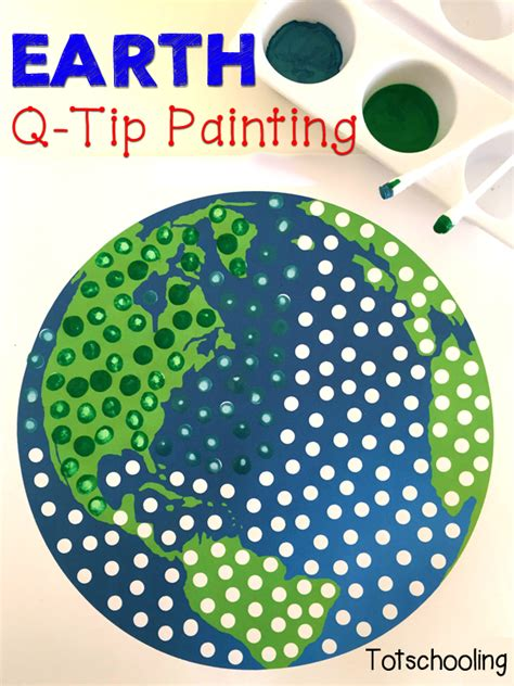 earth for preschoolers earth q tip painting free printable totschooling 222