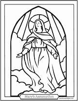 Coloring Mary Pages Catholic Assumption Stained Glass Sheets Rosary Mother Religious Saint Heaven Saints Catechism Saintanneshelper Blessed Holy Jesus Crafts sketch template