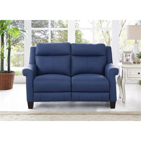 Loveseat Free Shipping by Shop Hydeline By Amax Dolce Top Grain Blue Leather Power