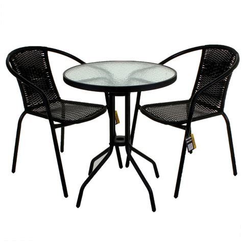 patio table and 2 chairs black wicker bistro sets table chair patio garden outdoor