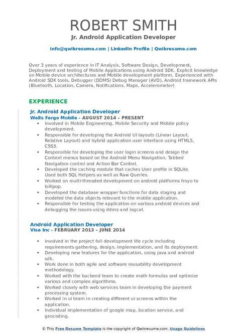 A W Resume Sle by Resume Headline For Experienced Android Developer The