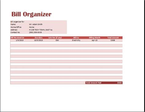 bill organizer template excel excel monthly bill pay template free invoice tracking template for excelbill payment organizer