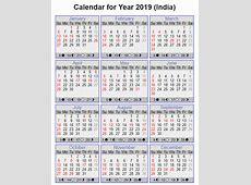 Free Indian Calendar 2019 PDF, Excel, Word Templates