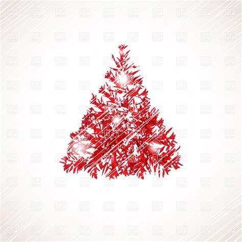 stylized red christmas tree on scratchy background 22599