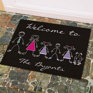 personalized stick figure family welcome doormat custom