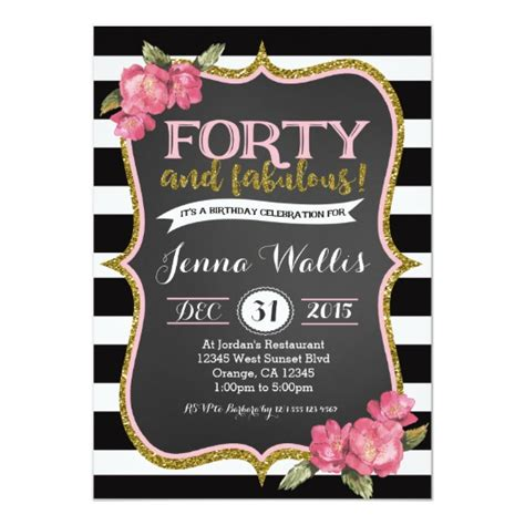 40th forty fabulous birthday invitation zazzle