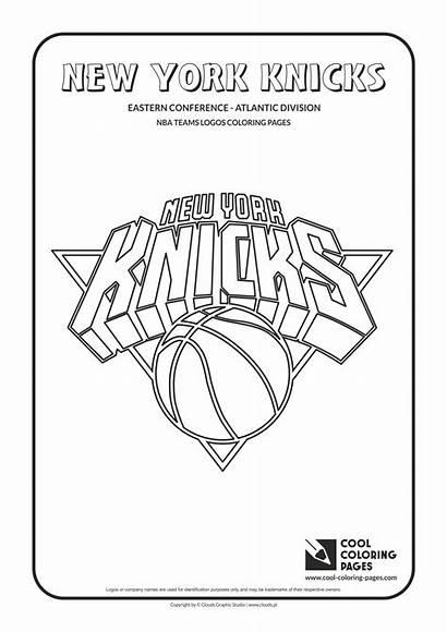 Coloring Nba Basketball Logos Knicks Teams Cool