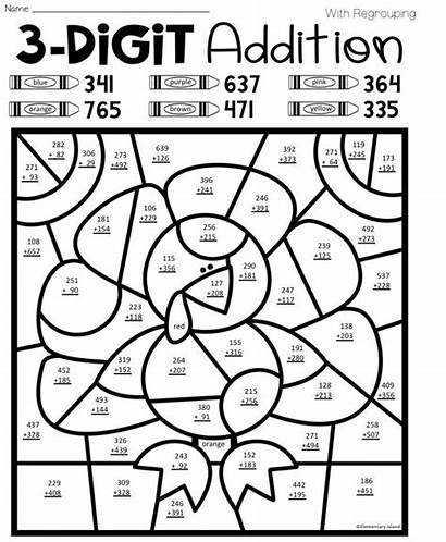 Regrouping Addition Worksheets Digit Coloring
