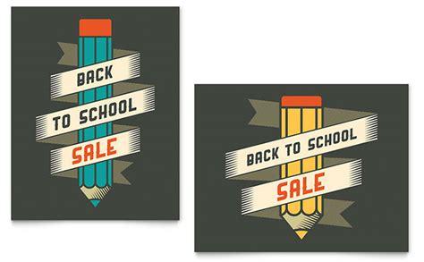 school supplies sale poster template design