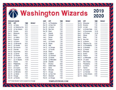 printable   washington wizards schedule