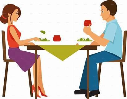 Dinner Transparent Eating Clipart Couple Having Clip