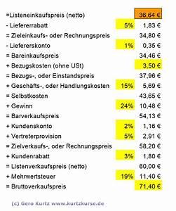 Transportkosten Berechnen Formel : kurtzkurse bwl kaufm nnisches rechnen die handelskalkulation ~ Themetempest.com Abrechnung