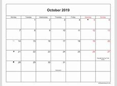 October 2019 Calendar With Holidays UK monthly printable
