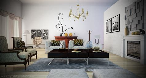 black white living room yellow chandelier and chairs