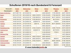 Ferien im Schuljahr 201516 in Deutschland alle Bundesländer
