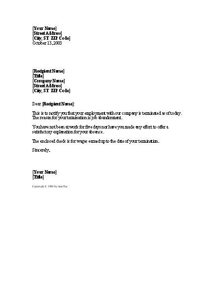 notice  termination due  job abandonment letter