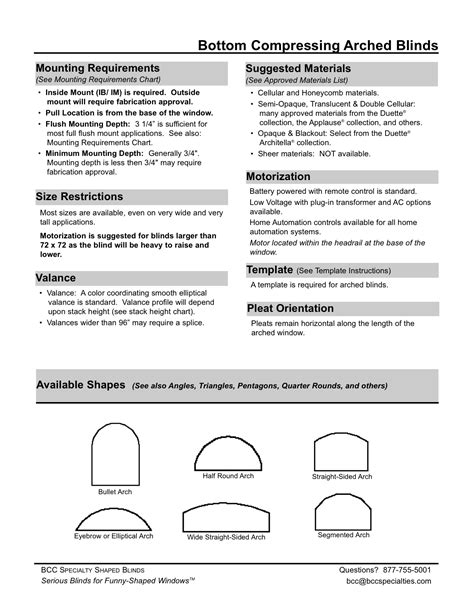 BCC Specialties :: Arched Blind Specifications