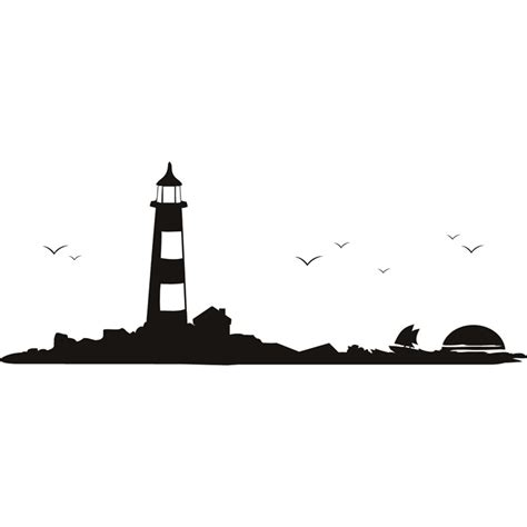 lighthouse scene silhouette rest of the world wall stickers home decor art decal ebay