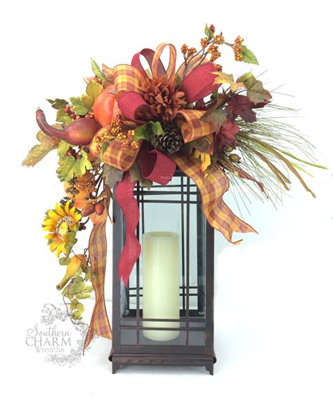 fall lanterns fall lantern swag w sunflower pumpkins pine cone leaves