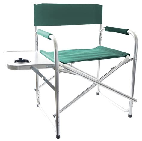 chair with side table aluminium green foldable directors cing chair outdoor