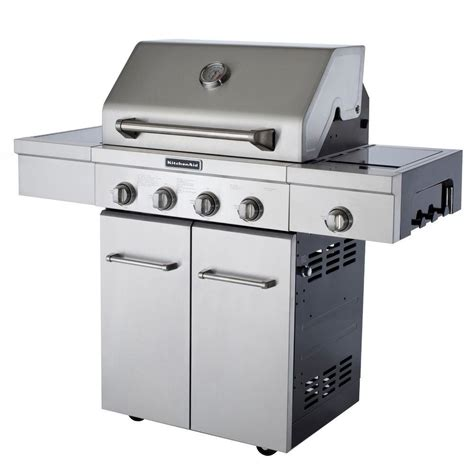 gasgrill 4 flammig kitchenaid 4 burner propane gas grill in stainless steel with side burner and grill cover 720