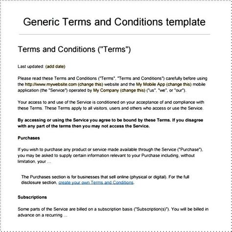 Terms And Conditions Template Peerpex
