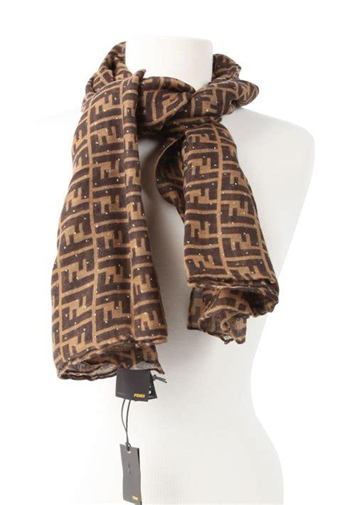 authentic fendi zucca cashmere  silk scarf brown  modaqueencom