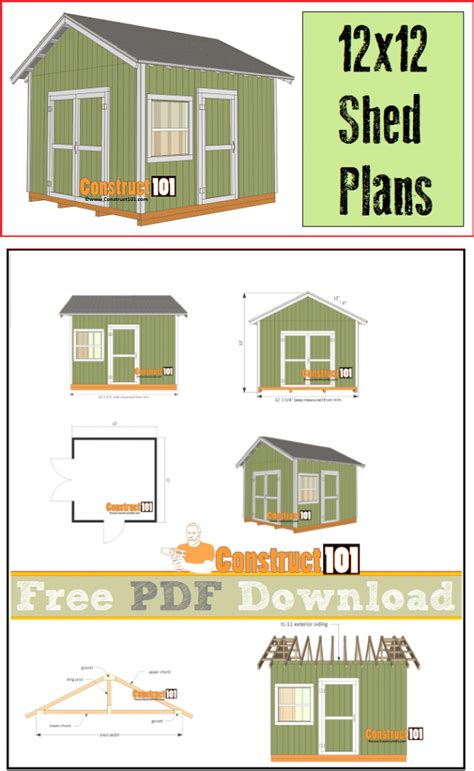 Free Shed Blueprints 12x12 by 12x12 Shed Plans Gable Shed Pdf Construct101