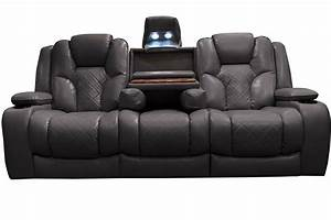 Bastille power reclining sofa with drop down table at for Sectional sofa with bed and recliner