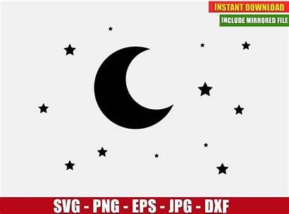 Moon Stars Svg Silhouette Cricut Cut Dxf