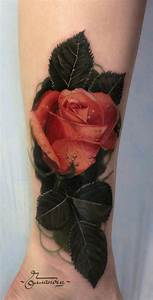 3D very realistic colored rose with water drops tattoo on ...