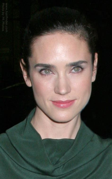 jennifer connelly   hair pulled    ponytail  wearing  shiny cowl neck dress