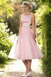 bridesmaids dresses sleeveless bateau neck a line tea length pink tulle bridesmaid dress with brooch