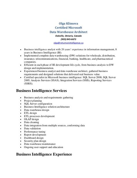 Data Warehouse Developer Resume by Olga Klimova Data Warehouse Resume