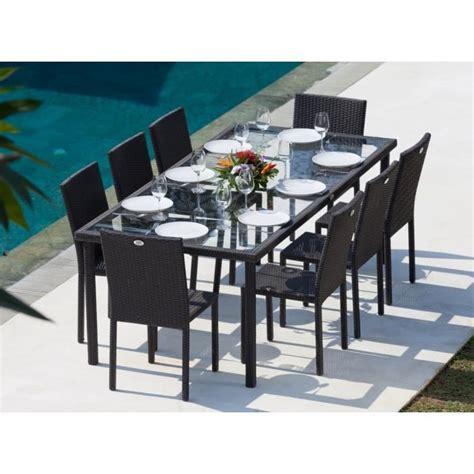 table et chaises de jardin en resine tressee ensemble table 220 cm et 8 chaises r 233 sine tress 233 e gris anthracite achat vente salon de
