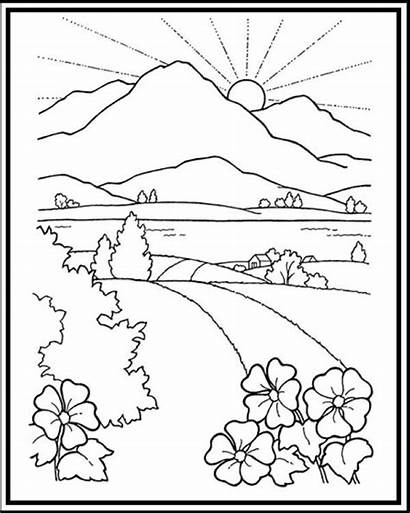Coloring Scenery Mountain Printable Sunset Road Sheet