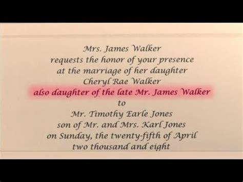 write wedding invitations  honor  deceased
