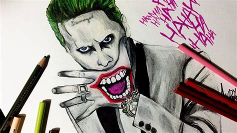 speed drawing jared leto joker  suicide squad youtube