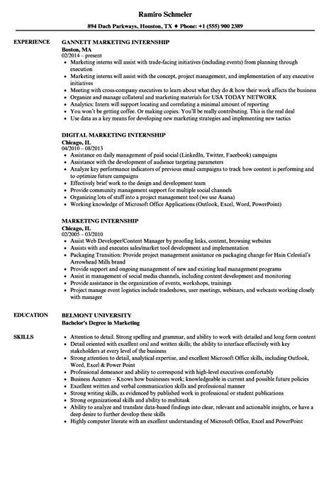 Marketing Intern Resume by Marketing Internship Resume Sles Velvet