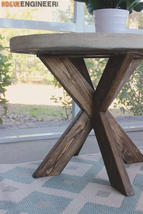 how to build an outdoor side table diy x brace side table w concrete top free easy plans
