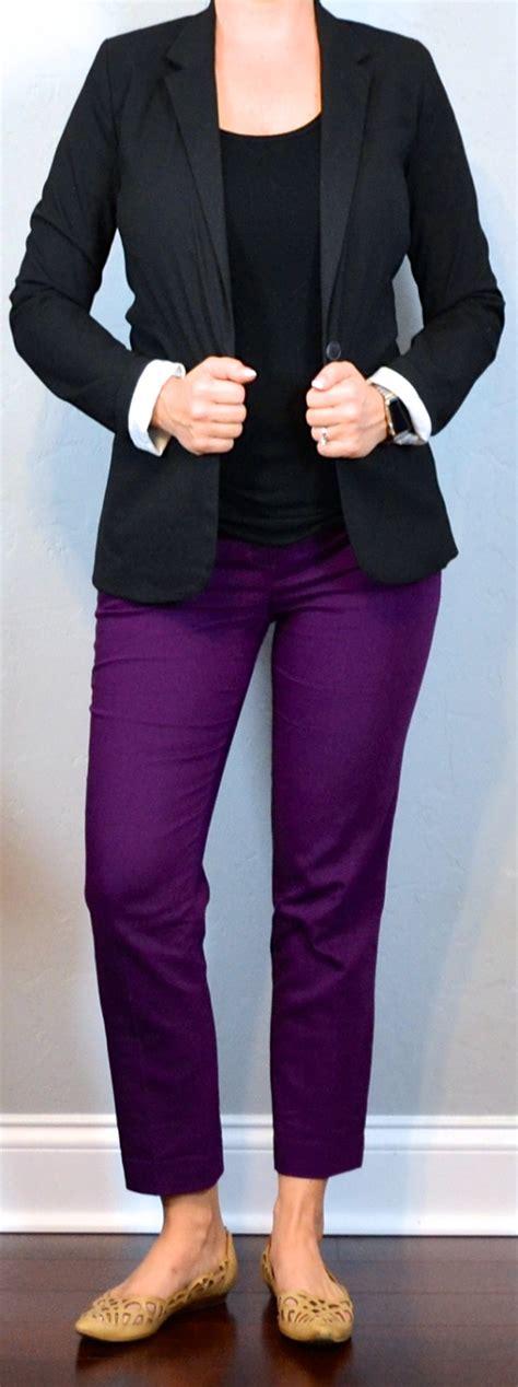 Outfit post purple ankle pants black crepe shell black boyfriend blazer