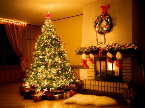 christmas tree fireplace stockings lights lgn