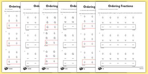 year 5 ordering fractions worksheet