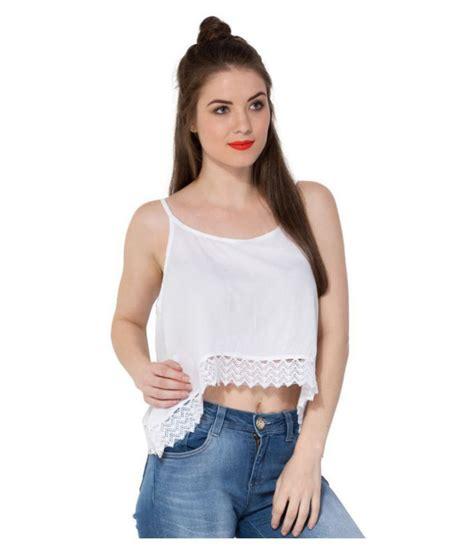Secret Bazaar Rayon Crop Tops - White - Buy Secret Bazaar ...