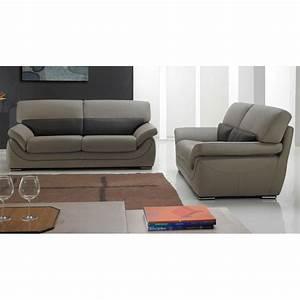 martina canape cuir 3 places bicolore beige et marron With tapis design avec canapé 3 places cuir beige